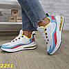 Кросівки на амортизаторах компенсаторах біло-блакитні, фото 4