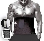 Пояс для похудения PowerPlay 4301 (125 * 30) Черный + карман для смартфона