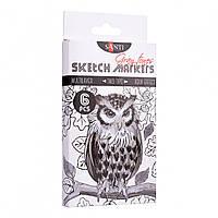 Набір маркерів Sketch  6кол Gray tones Santi