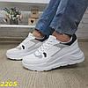Кроссовки на высокой массивной подошве белые с серым, фото 9
