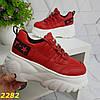 Кросівки на високій платформі червоні, фото 5