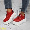 Кросівки на високій платформі червоні, фото 4