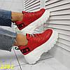 Кросівки на високій платформі червоні, фото 9