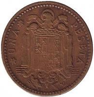 Монета 1 песета. 1947,53 год, Испания.(Г)