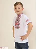 Футболка вышиванка для мальчика Зорянчик красная вышивка 146