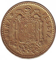 Монета 1 песета. 1963,66,75 год, Испания.(Г)