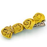 Дитяча заколка для волосся з трояндочками жовтогарячими