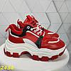 Кроссовки на тракторной массивной подошве красные, фото 8
