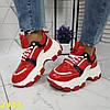 Кроссовки на тракторной массивной подошве красные, фото 2