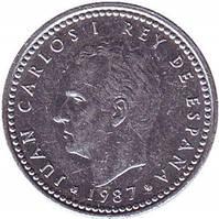 Монета 1 песета. 1985,86,87 год, Испания.(Г)