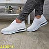 Кросівки сліпони білі текстильні на амортизаторах силіконової подушці, фото 2