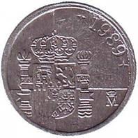 Монета 1 песета. 1989,96,97,99 год, Испания. (Новый тип)(Г)