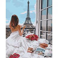 Картина за номерами Романтика Парижа 40*50 на полотні в коробці Santi
