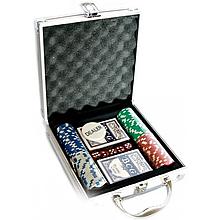 Набор для покера игра 100 фишек в кейсе+2 колоды карт