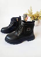 Ботинки чёрные демисезонные для девочек
