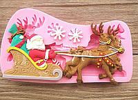 Дед Мороз с оленем новогодний силиконовый молд для мастики и шоколада
