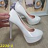 Туфли белые на шпильке с платформой, фото 5