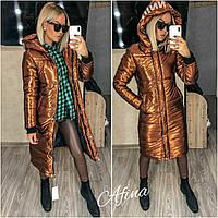 Женская стильная удлиненная блестящая куртка с капюшоном Норма