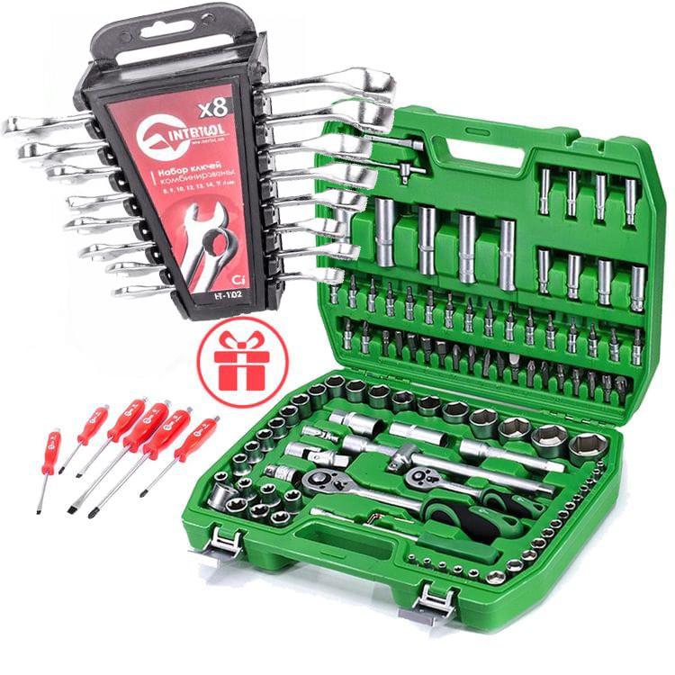 ✅ Набір інструментів 108 од. Intertool ET-6108SP + набір ключів 12 од. HT-1203 +Набір викруток 6 шт VT-2005