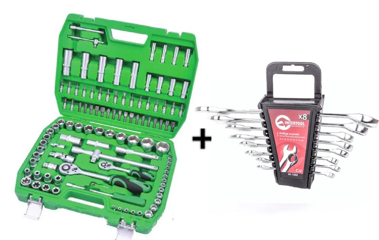 ✅ Набір інструментів 108 од. Intertool ET-6108SP + набір ключів 12 од. HT-1203