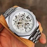 Часы мужские наручные противоударные механические металлические Gusto Skeleton Silver-White