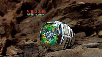 Перстень серебряный с эмалью Сова Айдар