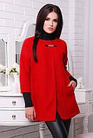 Пончо пальто красное 831