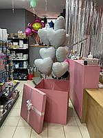 """Композиция с шаров """"Белые сердца"""" набор 10 шаров + коробка + бант"""