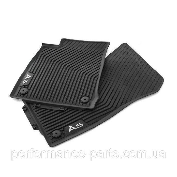 Резиновые передние коврики Audi A5 Sportback (T5/B9), контрастная надпись 8W7061501A041