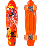 Скейтборд пластиковый Penny со светящимися колесами Оранжевый, фото 2