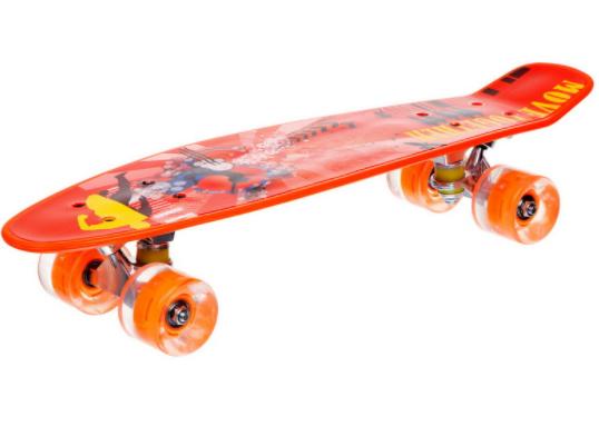 Скейтборд пластиковый Penny со светящимися колесами Оранжевый