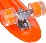 Скейтборд пластиковый Penny со светящимися колесами Оранжевый, фото 4