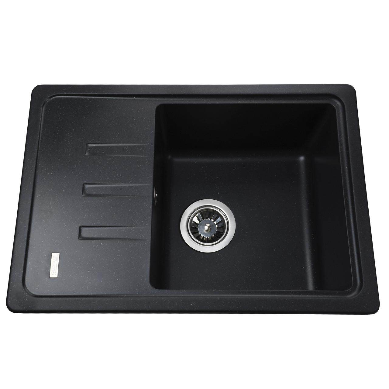 Гранитная мойка Globus Lux MONO черный металлик 620х435