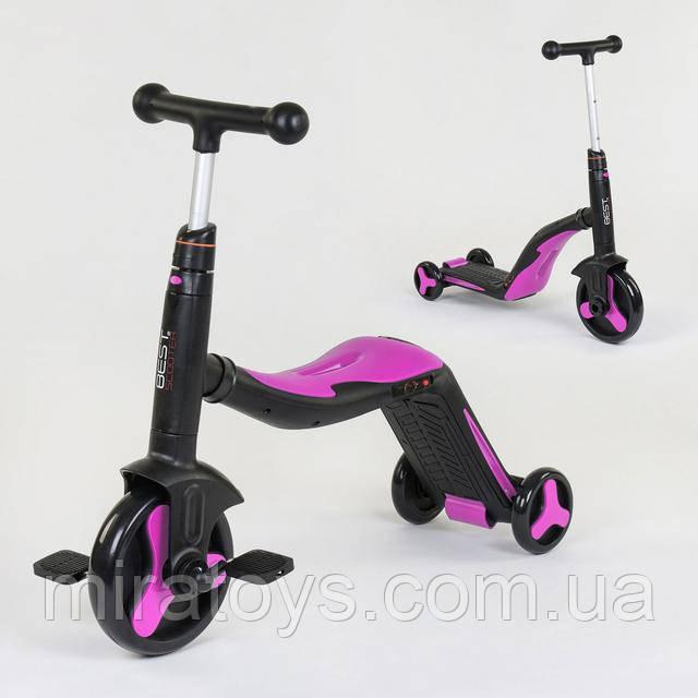 Самокат-велобег-велосипед детский best scooter 3в1 со светом и музыкой 70708
