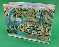 Пакет-Упаковка Бумажный Подарочный малый горизонтальный 11/18/5(12 шт)с Рисунком Ручками Ламинацией Плотный
