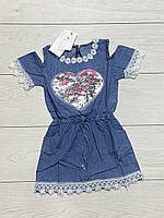 Платье для девочек. (Джинсовый трикотаж). 4 года.