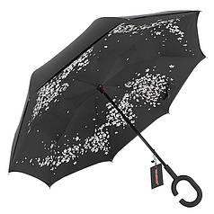 Зонт Up-Brella Сакура розумний вітрозахисний парасолька навпаки парасолька-тростина зворотного складання жіночий