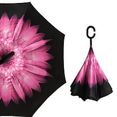 Гарний парасолька Up-Brella Гербера Рожева зворотний антизонт складання навпаки розумний