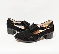 Женские туфли, замшевые на удобном устойчивом каблуке в черном цвете практичная легкая не дорогая обувь 38