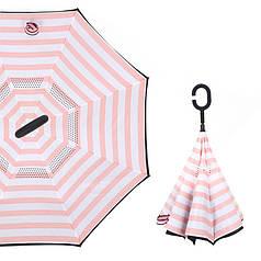 Зонт Up-Brella Рожево-білі смуги розумний смарт парасолька вітрозахисний зворотного складання довга ручка Hands Free