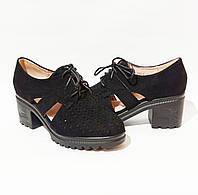 Женские туфли, замшевые на удобном устойчивом каблуке в черном цвете практичная легкая не дорогая обувь