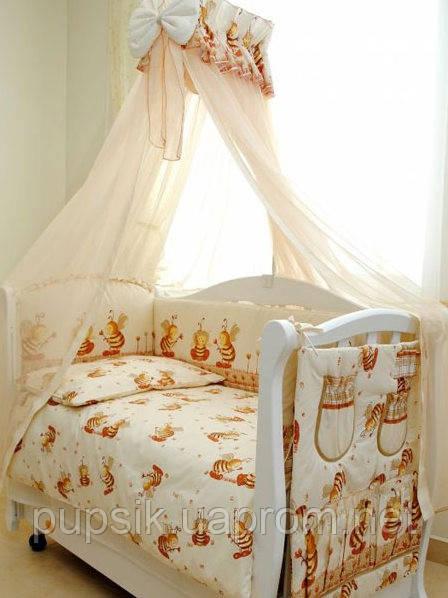 Постельный комплект в кроватку Twins Comfort Пчёлки (8 предметов) С-031