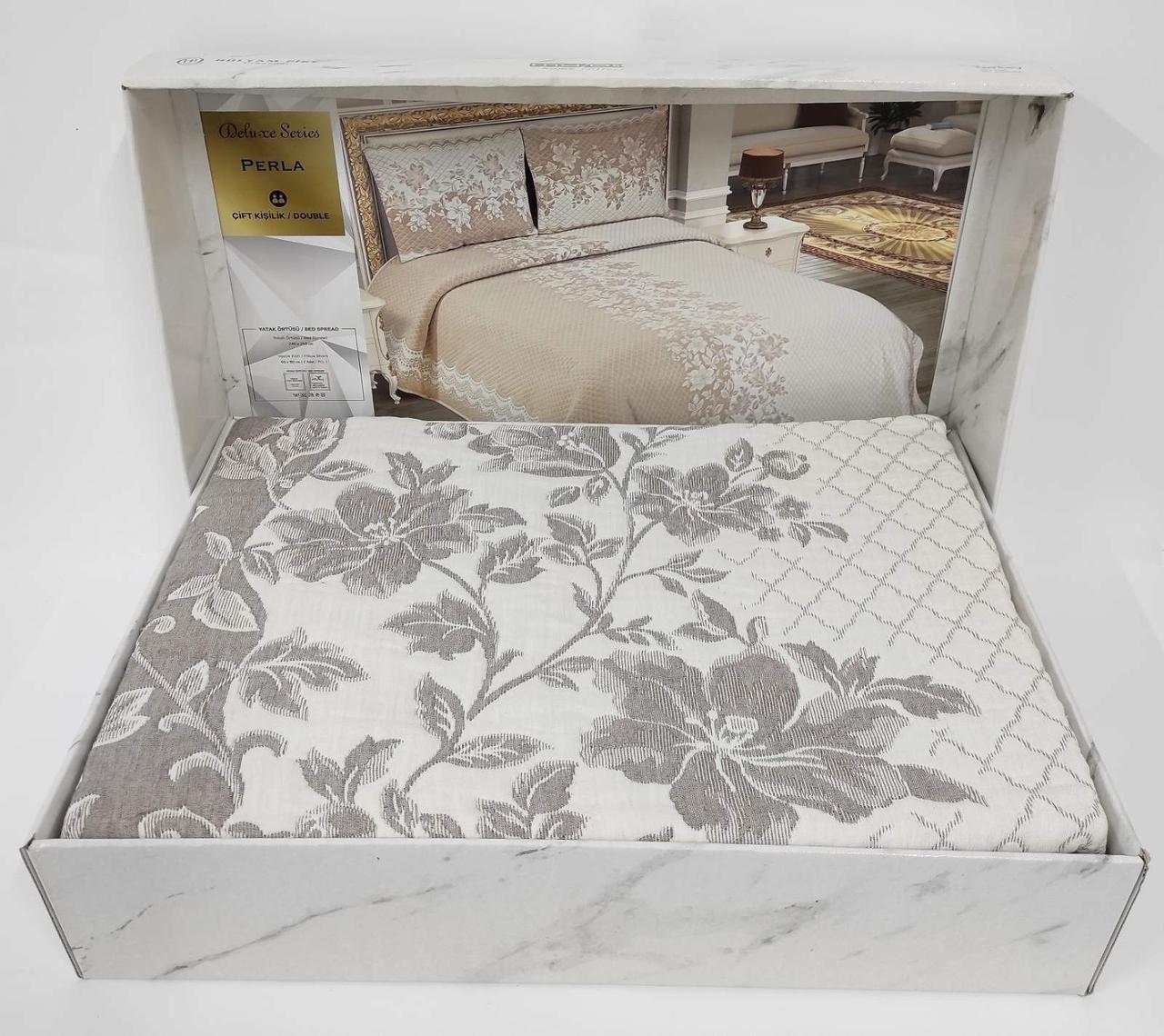 Покрывало My Bed Жакард 240x260 с наволочками Perla Cappucino