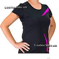Женская спортивная футболка больших размеров, женская футболка для фитнеса батал Valeri 4029 с розовым