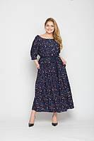 Женское платье длинное из штапеля в мелкий цветочный принт больших размеров