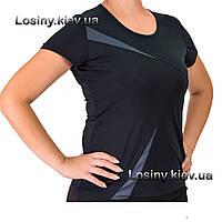 Женская футболка для фитнеса батал, женская спортивная футболка больших размеров Valeri 4029 с темносерым
