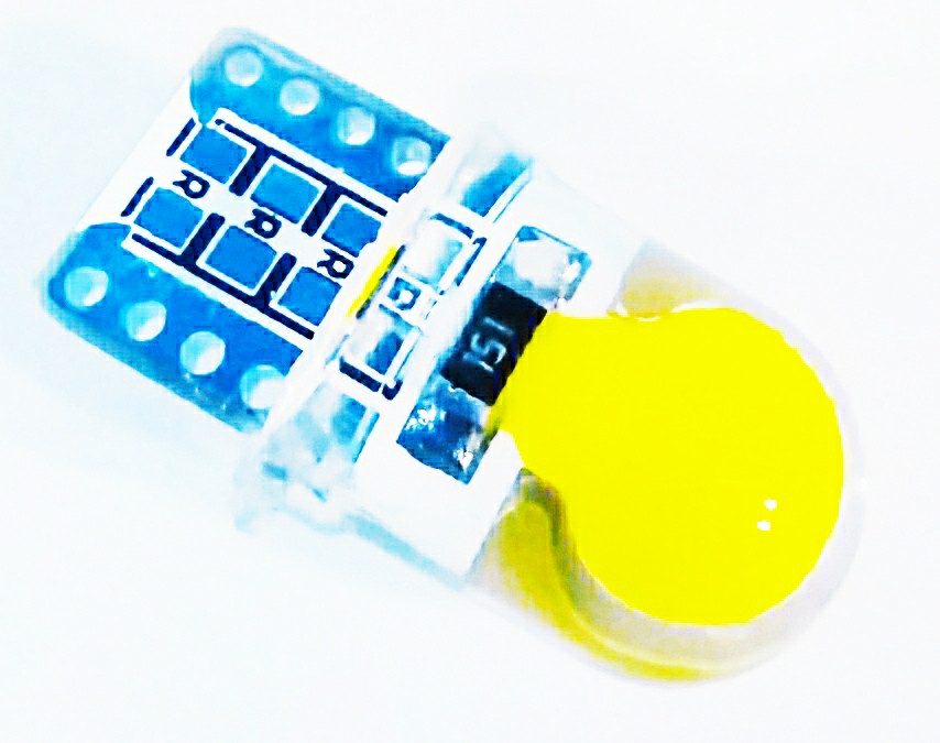 Светодиодная автолампа лед , T10 W5W, 12В, 5Вт, Желтый