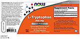 Now Foods L-Tryptophan 500 mg (60caps), фото 2