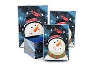 Подарочная коробка новогодняя Снеговик в Новогоднюю ночь