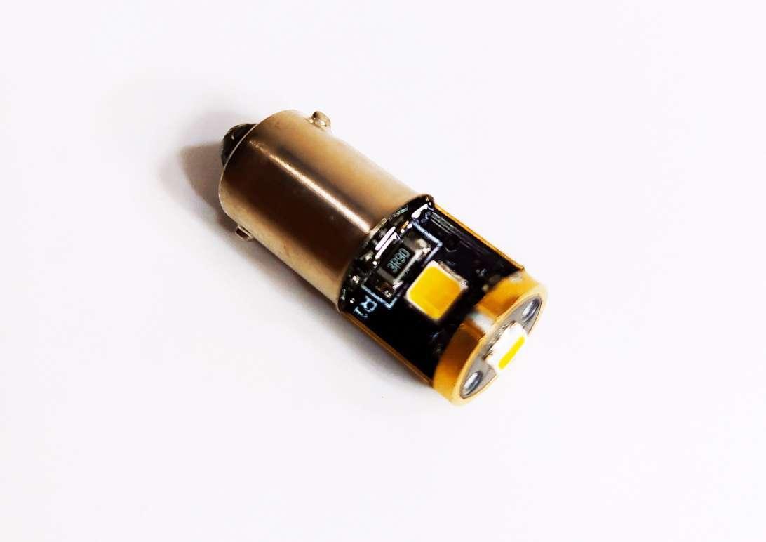 Светодиодная лед авто лампа T4W, BA9S, 3SMD, 2835, Белый